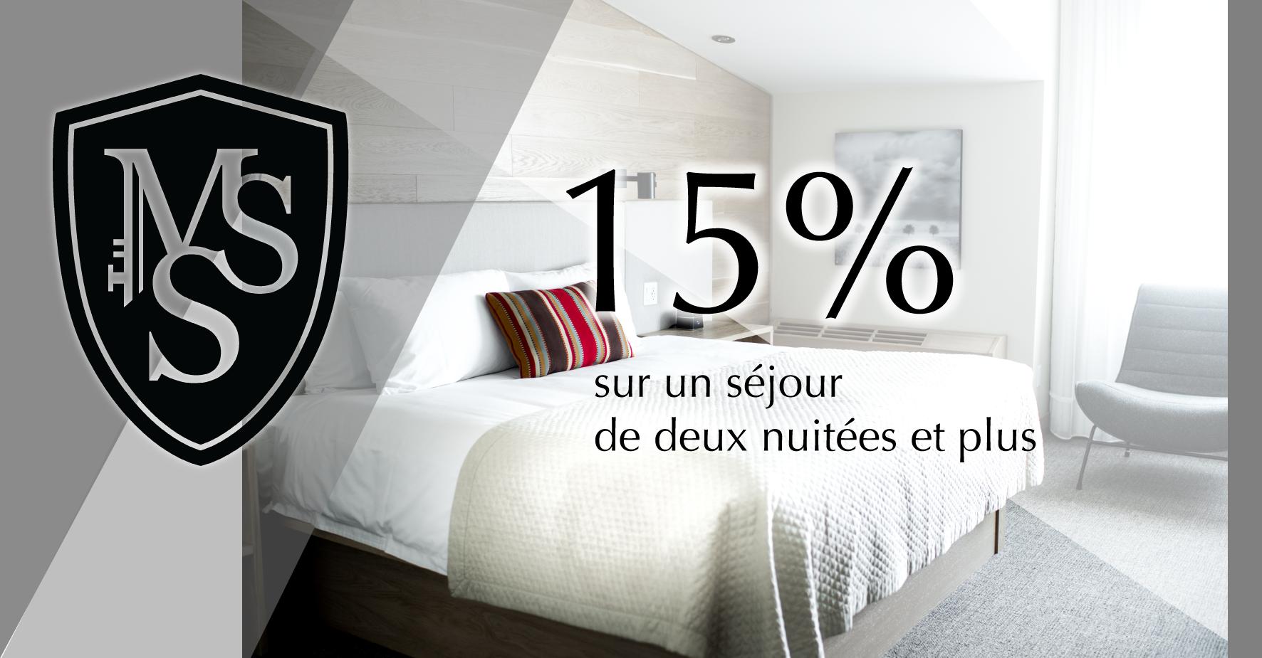 15% sur votre prochain séjour de deux nuitées !